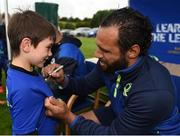11 July 2017; Isa Nacewa signs autographs for young supporters during the Bank of Ireland Leinster Rugby Summer Camp at Balbriggan RFC in Dublin. Photo by Eóin Noonan/Sportsfile