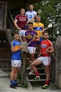11 July 2017; In attendance during the GAA Hurling All Ireland Senior Championship Series National Launch at the Irish National Heritage Park, in Co. Wexford are clockwise, from front left, Sean Curran of Tipperary, Paul Killeen of Galway, Noe Connors of Waterford, Aaron Cunningham of Clare, Mark Ellis of Cork and Lee Chin of Wexford with the Liam MacCarthy Cup. Photo by Brendan Moran/Sportsfile
