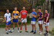 11 July 2017; In attendance during the GAA Hurling All Ireland Senior Championship Series National Launch at the Irish National Heritage Park, in Co. Wexford are, from left, Noel Connors of Waterford, Aaron Cunningham of Clare, Mark Ellis of Cork, Sean Curran of Tipperary, Lee Chin of Wexford and Paul Killeen of Galway with the Liam MacCarthy Cup. Photo by Brendan Moran/Sportsfile