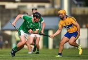 12 July 2017; Peter Casey of Limerick in action against Jason McCarthy of Clare during the Bord Gais Energy Munster GAA Hurling Under 21 Championship Semi-Final match between Limerick and Clare at the Gaelic Grounds in Limerick. Photo by Brendan Moran/Sportsfile
