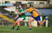 12 July 2017; Peter Casey of Limerick in action against Dara Walsh of Clare during the Bord Gais Energy Munster GAA Hurling Under 21 Championship Semi-Final match between Limerick and Clare at the Gaelic Grounds in Limerick. Photo by Brendan Moran/Sportsfile