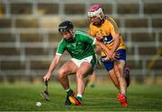 12 July 2017; Barry Murphy of Limerick in action against Michael Moloney of Clare during the Bord Gais Energy Munster GAA Hurling Under 21 Championship Semi-Final match between Limerick and Clare at the Gaelic Grounds in Limerick. Photo by Brendan Moran/Sportsfile