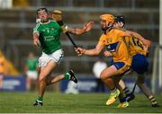 12 July 2017; Colin Ryan of Limerick in action against Jason McCarthy of Clare during the Bord Gais Energy Munster GAA Hurling Under 21 Championship Semi-Final match between Limerick and Clare at the Gaelic Grounds in Limerick. Photo by Brendan Moran/Sportsfile