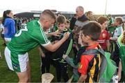 12 July 2017; Peter Casey of Limerick signs autographs for fans after the Bord Gais Energy Munster GAA Hurling Under 21 Championship Semi-Final match between Limerick and Clare at the Gaelic Grounds in Limerick. Photo by Brendan Moran/Sportsfile