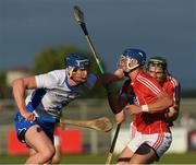 13 July 2017; Conor Prunty of Waterford in action against Paul Leopold and Mark Coleman of Cork during the Bord Gais Energy Munster GAA Hurling Under 21 Championship Semi-Final match between Waterford and Cork at Walsh Park in Waterford. Photo by Ray McManus/Sportsfile