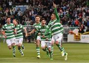 13 July 2017; Graham Burke, right, of Shamrock Rovers celebrates with team-mates after scoring his side's first goal during the UEFA Europa League Second Qualifying Round First Leg match between Shamrock Rovers and Mlada Boleslav at Tallaght Stadium in Tallaght, Co Dublin. Photo by David Maher/Sportsfile