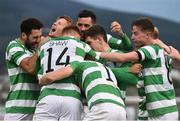 13 July 2017; Graham Burke, hidden, of Shamrock Rovers celebrates after scoring his side's first goal with teammates Luke Byrne, David Webster, Trevor Clarke, Gary Shaw and Ronan Finn during the UEFA Europa League Second Qualifying Round First Leg match between Shamrock Rovers and Mlada Boleslav at Tallaght Stadium in Tallaght, Co Dublin. Photo by David Maher/Sportsfile