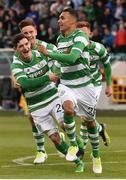 13 July 2017; Graham Burke, right, of Shamrock Rovers celebrates after scoring his side's first goal with team-mate Trevor Clarke during the UEFA Europa League Second Qualifying Round First Leg match between Shamrock Rovers and Mlada Boleslav at Tallaght Stadium in Tallaght, Co Dublin. Photo by David Maher/Sportsfile