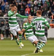 13 July 2017; Graham Burke, left, of Shamrock Rovers celebrates after scoring his side's first goal with team-mates Luke Byrne and Gary Shaw during the UEFA Europa League Second Qualifying Round First Leg match between Shamrock Rovers and Mlada Boleslav at Tallaght Stadium in Tallaght, Co Dublin. Photo by David Maher/Sportsfile