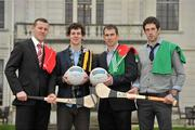 14 March 2012; At the AIB Provincial Player Awards 2011 are, from left to right, Ulster hurling winner Joey Scullion, Loughgiel Shamrocks, Co. Antrim, Ulster football winner Jamie Clarke, Crossmaglen Rangers, Co. Armagh, Leinster football winner Dessie Dolan, Garrycastle, Co. Westmeath and Leinster hurling winner Cathal Parlon, Coolderry, Co. Offaly. Radisson Blu St. Helen's Hotel, Stillorgan. Picture credit: David Maher / SPORTSFILE