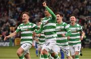 13 July 2017; Graham Burke, second from left, of Shamrock Rovers celebrates after scoring his side's first goal with team-mates Luke Byrne, Trevor Clarke and Ronan Finn during the UEFA Europa League Second Qualifying Round First Leg match between Shamrock Rovers and Mlada Boleslav at Tallaght Stadium in Tallaght, Co Dublin. Photo by David Maher/Sportsfile