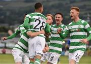 13 July 2017; Graham Burke, left, of Shamrock Rovers celebrates after scoring his side's first goal with team-mates Gary Shaw and Ronan Finn during the UEFA Europa League Second Qualifying Round First Leg match between Shamrock Rovers and Mlada Boleslav at Tallaght Stadium in Tallaght, Co Dublin. Photo by David Maher/Sportsfile