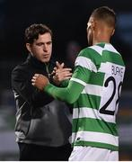 13 July 2017; Shamrock Rovers manager Stephen Bradley with Graham Burke after the UEFA Europa League Second Qualifying Round First Leg match between Shamrock Rovers and Mlada Boleslav at Tallaght Stadium in Tallaght, Co Dublin. Photo by David Maher/Sportsfile