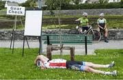 14 July 2017; Eoghan McLoughlin of Connacht Team recovers at the finish of Stage 4 of the Scott Junior Tour 2017 at the Wild Atlantic Way, Co Clare. Photo by Stephen McMahon/Sportsfile