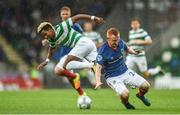 14 July 2017; Scott Sinclair of Celtic in action against Robert Garrett of Linfield during the UEFA Champions League Second Qualifying Round First Leg match between Linfield and Glasgow Celtic at the National Football Stadium in Windsor Park, Belfast. Photo by David Fitzgerald/Sportsfile