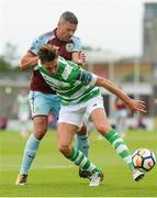 14 July 2017; Tom Linthorst of Shamrock Rovers XI in action against Jon Walters of Burnley during the Friendly match between Shamrock Rovers XI and Burnley at Tallaght Stadium in Tallaght, Co Dublin. Photo by Piaras Ó Mídheach/Sportsfile