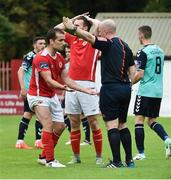 14 July 2017; Christy Fagan of St Patrick's Athletic remonstrates with referee Rob Rogers after a penalty claim during the SSE Airtricity League Premier Division match between St Patrick's Athletic and Derry City at Richmond Park in Dublin. Photo by David Maher/Sportsfile