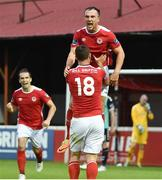 14 July 2017; Graham Kelly, top, of St Patrick's Athletic celebrates after scoring his side's second goal with teammate Kurtis Byrne during the SSE Airtricity League Premier Division match between St Patrick's Athletic and Derry City at Richmond Park in Dublin. Photo by David Maher/Sportsfile