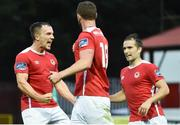14 July 2017; Graham Kelly, left, of St Patrick's Athletic celebrates after scoring his side's second goal with teammates Kurtis Byrne, centre, and Christy Fagan during the SSE Airtricity League Premier Division match between St Patrick's Athletic and Derry City at Richmond Park in Dublin. Photo by David Maher/Sportsfile