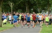 15 July 2017; parkrun Ireland in partnership with Vhi, added their 65th event on Saturday, July 15th, with the introduction of the Fairview parkrun. parkruns take place over a 5km course weekly, are free to enter and are open to all ages and abilities, providing a fun and safe environment to enjoy exercise. To register for a parkrun near you visit www.parkrun.ie. New registrants should select their chosen event as their home location. You will then receive a personal barcode which acts as your free entry to any parkrun event worldwide. Pictured are competitors at the start of the race. Photo by Piaras Ó Mídheach/Sportsfile