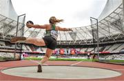 15 July 2017; Niamh McCarthy of Ireland in action during the Women's Discus Throw F41 during the 2017 Para Athletics World Championships at the Olympic Stadium in London. Photo by Luc Percival/Sportsfile