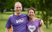 15 July 2017; parkrun Ireland in partnership with Vhi, added their 65th event on Saturday, July 15th, with the introduction of the Fairview parkrun. parkruns take place over a 5km course weekly, are free to enter and are open to all ages and abilities, providing a fun and safe environment to enjoy exercise. To register for a parkrun near you visit www.parkrun.ie. New registrants should select their chosen event as their home location. You will then receive a personal barcode which acts as your free entry to any parkrun event worldwide. Pictured are Conor Cleary and Maureen Barrett of VHI. Photo by Piaras Ó Mídheach/Sportsfile