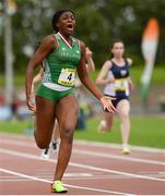 15 July 2017; Patience Jumbo Gula of St Vincents CC Dundalk representing Ireland celebrates crossing the finish line to win the Girls 100m event during the SIAB T&F Championships at Morton Stadium in Santry, Co. Dublin. Photo by Piaras Ó Mídheach/Sportsfile