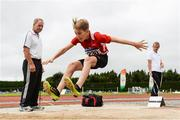 15 July 2017; Noah Scully of Gowran A.C., Co. Kilkenny competing in the U13 Long Jump event during the AAI Juvenile B Championships & Juvenile Relays in Tullamore, Co Offaly. Photo by Barry Cregg/Sportsfile