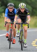 15 July 2017; Michael Garrison of Hincapie Development Team leads Conor Gallagher of Connacht Team during Stage 5 of the Scott Junior Tour 2017 at Gallows Hill, Co Clare. Photo by Stephen McMahon/Sportsfile