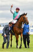 15 July 2017; Enable, with Frankie Dettori up, celebrates after winning the Darley Irish Oaks race during Day 1 of the Darley Irish Oaks Weekend at the Curragh in Kildare. Photo by Eóin Noonan/Sportsfile