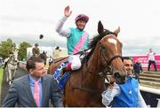 15 July 2017; Enable, with Frankie Dettori up, celebrating as he enters the parade ring after winning the Darley Irish Oaks during Day 1 of the Darley Irish Oaks Weekend at the Curragh in Kildare. Photo by Eóin Noonan/Sportsfile