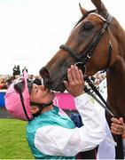 15 July 2017; Frankie Dettori celebrates with his horse Enable after winning the Darley Irish Oaks during Day 1 of the Darley Irish Oaks Weekend at the Curragh in Kildare. Photo by Eóin Noonan/Sportsfile