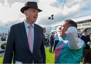 15 July 2017; Frankie Dettori speaking to trainer John Gosden after winning the Darley Irish Oaks during Day 1 of the Darley Irish Oaks Weekend at the Curragh in Kildare. Photo by Eóin Noonan/Sportsfile