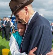 15 July 2017; Frankie Dettori celebrates with trainer John Gosden after winning the Darley Irish Oaks during Day 1 of the Darley Irish Oaks Weekend at the Curragh in Kildare. Photo by Eóin Noonan/Sportsfile