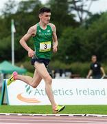 15 July 2017; Keelan Kilrehill of Coláiste Iascaig, Co Sligo, representing Ireland, competing in the Boys 300m event during the SIAB T&F Championships at Morton Stadium in Santry, Co. Dublin. Photo by Piaras Ó Mídheach/Sportsfile