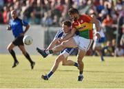 15 July 2017; Daniel St Ledger of Carlow in action against Conor McManus of Monaghan during the GAA Football All-Ireland Senior Championship Round 3B match between Carlow and Monaghan at Netwatch Cullen Park in Carlow. Photo by David Maher/Sportsfile