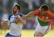 15 July 2017; Owen Duffy of Monaghan in action against Brendan Murphy of Carlow during the GAA Football All-Ireland Senior Championship Round 3B match between Carlow and Monaghan at Netwatch Cullen Park in Carlow. Photo by David Maher/Sportsfile