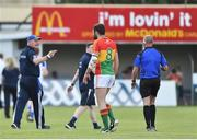 15 July 2017; Monaghan manager Malachy O'Rourke remonstrates with referee Cormac Reilly at half time at the GAA Football All-Ireland Senior Championship Round 3B match between Carlow and Monaghan at Netwatch Cullen Park in Carlow. Photo by David Maher/Sportsfile