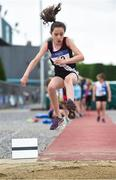 15 July 2017; Caitlin Hughes of Swinford A.C., Co. Mayo, competing in the U12 Girl's Long Jump event during the AAI Juvenile B Championships & Juvenile Relays in Tullamore, Co Offaly. Photo by Barry Cregg/Sportsfile