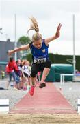 15 July 2017; Isabelle Fitzpatrick of St. Peter's A.C., Co.Armagh, competing in the U12 Girl's Long Jump event during the AAI Juvenile B Championships & Juvenile Relays in Tullamore, Co Offaly. Photo by Barry Cregg/Sportsfile
