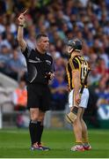 8 July 2017; Richie Hogan of Kilkenny is shown a yellow card by Referee James Owens the GAA Hurling All-Ireland Senior Championship Round 2 match between Waterford and Kilkenny at Semple Stadium in Thurles, Co Tipperary. Photo by Brendan Moran/Sportsfile