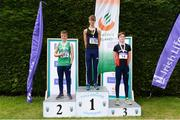 15 July 2017; U16 Boy's 100m podium from left, runner up Jordan Collins,  of Templemore A.C., winner Patrick Tucker, Blackrock A.C., and third place finisher Adam Leahy, Menapians A.C. during the AAI Juvenile B Championships & Juvenile Relays in Tullamore, Co Offaly. Photo by Barry Cregg/Sportsfile