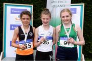 15 July 2017; U14 Girl's 80m podium from left, runner up Grainne O'Sullivan, of Bray Runners A.C., winner Ria Kelly, Celbridge A.C., and third place finisher Abi Sheehy, Cushinstown A.C. during the AAI Juvenile B Championships & Juvenile Relays in Tullamore, Co Offaly. Photo by Barry Cregg/Sportsfile