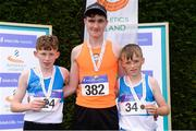 15 July 2017; U14 Boy's 80m podium from left, runner up Jack Murphy,  of St. Laurence O'Tooles A.C., winner Conor Managan, Rosses A.C., and third place finisher Jack Dunne, St. Laurence O'Tooles A.C. during the AAI Juvenile B Championships & Juvenile Relays in Tullamore, Co Offaly. Photo by Barry Cregg/Sportsfile
