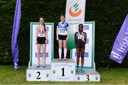 15 July 2017; U15 Girl's 100m podium from left, runner up Jennifer Nugent, of Trim A.C., winner Aoife Ryan , St. Laurence O'Tooles A.C., and third place finisher Munirat Shobowale, Mountmellick A.C. during the AAI Juvenile B Championships & Juvenile Relays in Tullamore, Co Offaly. Photo by Barry Cregg/Sportsfile