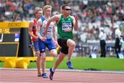 16 July 2017; Jason Smyth of Ireland, Zak Skinner, first left, of Great Britain and Vegard Dragsund Nilsen of Norway, second left, competing in the 100m during the 2017 Para Athletics World Championships at the Olympic Stadium in London. Photo by Luc Percival/Sportsfile