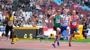 16 July 2017; Jason Smyth of Ireland, Chadwick Campbell, left, of Jamaica, Zak Skinner, first right, of Great Britain and Vegard Dragsund Nilsen of Norway, second right, competing in the 100m during the 2017 Para Athletics World Championships at the Olympic Stadium in London. Photo by Luc Percival/Sportsfile
