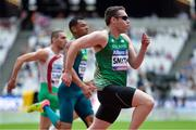 16 July 2017; Jason Smyth of Ireland, Kesley Teodoro of Brazil and Radoslav Zlatanov of Bulgaria competing in the 100m during the 2017 Para Athletics World Championships at the Olympic Stadium in London. Photo by Luc Percival/Sportsfile