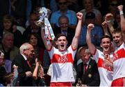 16 July 2017; Derry captain Padraig Mc Grogan lifting the cup during the Electric Ireland Ulster GAA Football Minor Championship Final match between Cavan and Derry at St Tiernach's Park in Clones, Co. Monaghan. Photo by Philip Fitzpatrick/Sportsfile