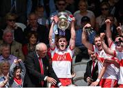 16 July 2017; Derry captain Padraig McGrogan lifting the cup during the Electric Ireland Ulster GAA Football Minor Championship Final match between Cavan and Derry at St Tiernach's Park in Clones, Co. Monaghan. Photo by Philip Fitzpatrick/Sportsfile